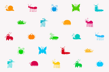 Retro Seamless Vector Pattern Of Colorful Cute Insects