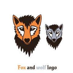 Vector illustration of a fox and wolf. Cute and fun cartoon