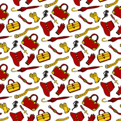 Seamless pattern fashion woman accessories. Doodle vector