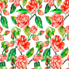 Camellia, Rose, Seamless floral pattern. Watercolor flower patte