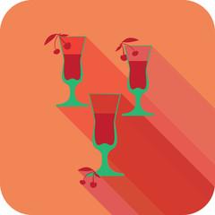 Three glasses liqueur flat design stylized
