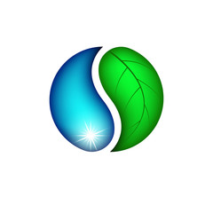 Drop water and leaf plants logo, eco icon