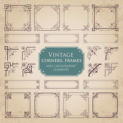 Vintage corners, frames and calligraphic elements