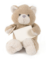teddybear holding pencil and paper. Greeting card.