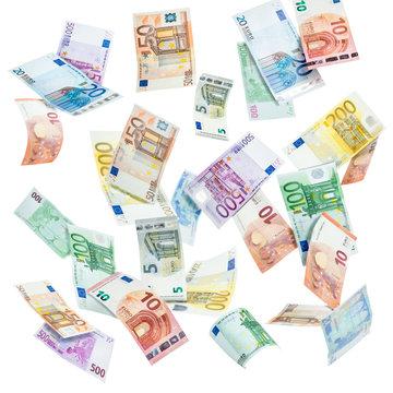 Euro Geldscheine vor weißem Hintergrund