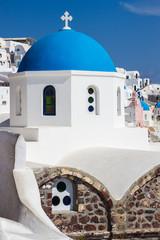 Blue dome church close-up, Santorini island, Greece