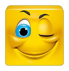 Square emoticon winking