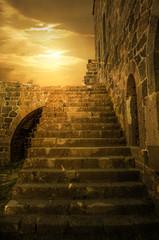 Foto auf Leinwand Befestigung Historical Castle Upstairs