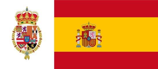 Spanish flag with emblem of Philip VI
