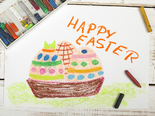 Happy Easter card with basket, eggs, colorful drawing