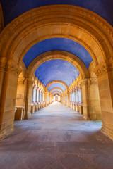 Corridor in the Mausoleum of Bilbao's cemetery, Spain