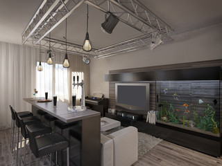 Interior design living room with kitchen
