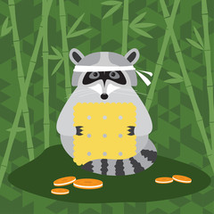 funny cartoon cute raccoon and cookie background for use in desi