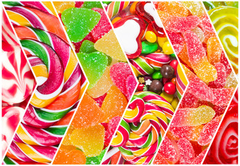 Fototapete - Collage of different colorful  candy