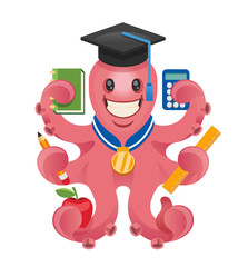 Octopus teacher. Vector illustration