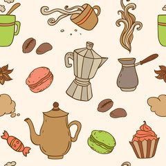 Seamless pattern with coffee
