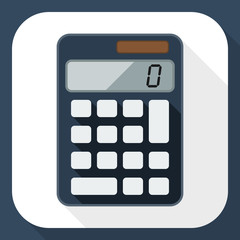 Calculator flat icon with long shadow