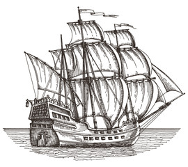 ship on a white background. sketch. illustration