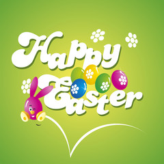 Happy Easter jump rabbit green background