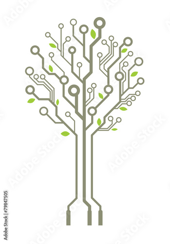 Vector circuit board tree with leaves\