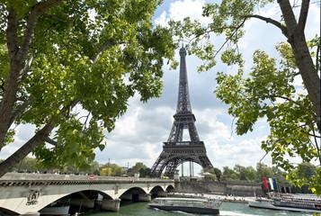 Eiffel tower and Jena bridge, Paris, France