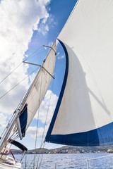 View of the sails and mast tilt in the wind