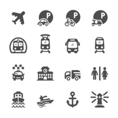 transportation and infrastructure icon set, vector eps10