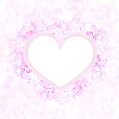 Wedding card or invitation with floral background and heart