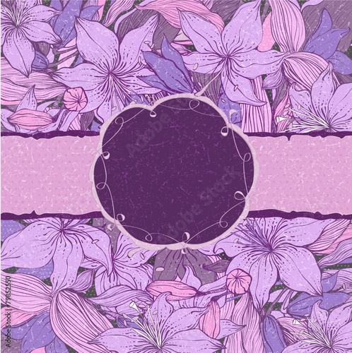 Stylish Floral Background With FrameShabby Chic