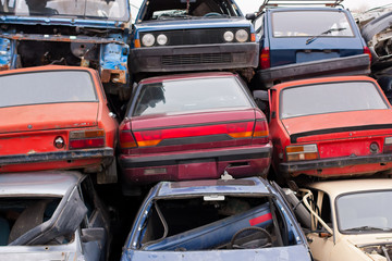 Cars in junkyard