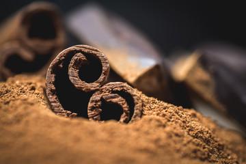 Cinnamon sticks with chocolate on vintage woodenbackground