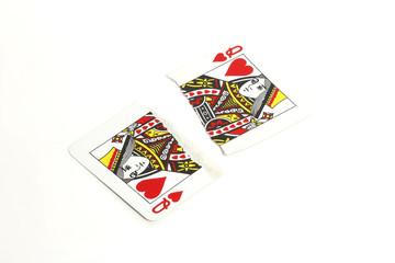 zerrissene Spielkarte HErz Dame