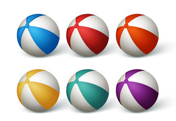 Realistic Beach Balls Set in White Background