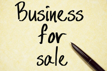 business for sale text write on paper