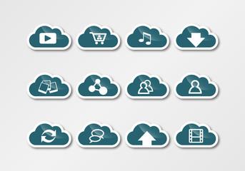 cloud computing technology sticker turquois