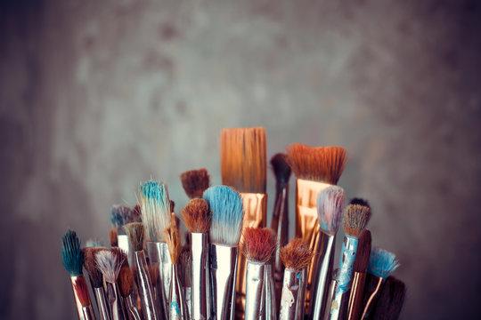 Bunch of artist paintbrushes closeup