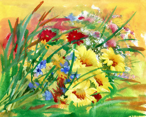 Watercolor field flowers bouquet
