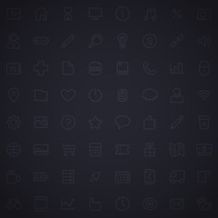 Dark Grid Seamless Pattern with Web Icons