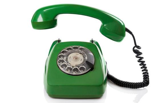 Green retro telephone