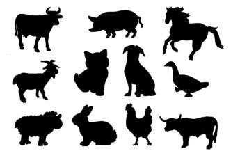 Farm animals silhouette.