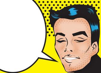 Pop Art Man Say Fashion face with dark hair cut talking