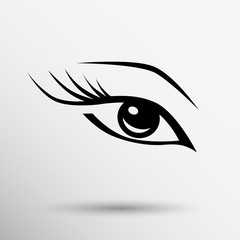 vector blue eye with long lashes  woman makeup beauty symbol