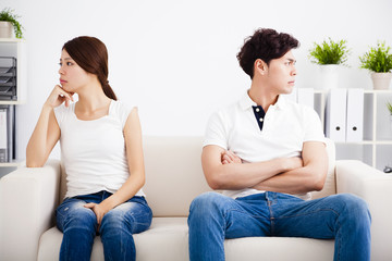 young Couple stress and  sitting on the sofa