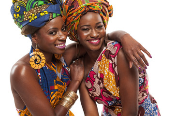 African female models posing in dresses.