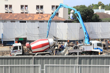 Truck in construction area