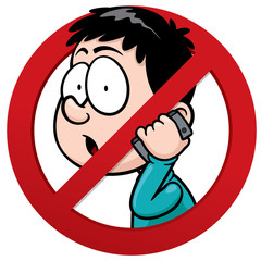 Vector illustration of No phone receiver sign