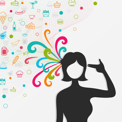 A silhouette woman's head explodes with lots of food and candy w