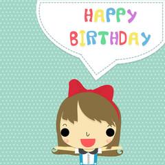 girl say happy birthday