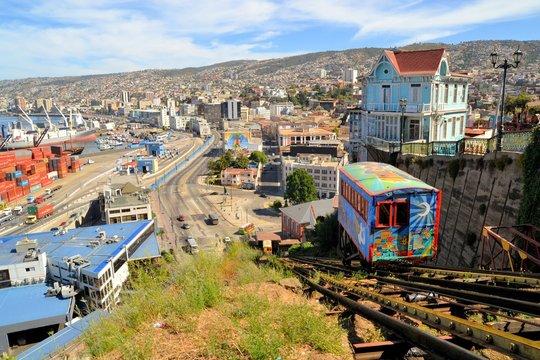 Funicular Railway Escalator, Valparaiso, Chile