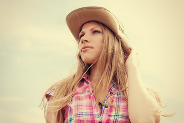 Beautiful Woman in Cowboy Hat